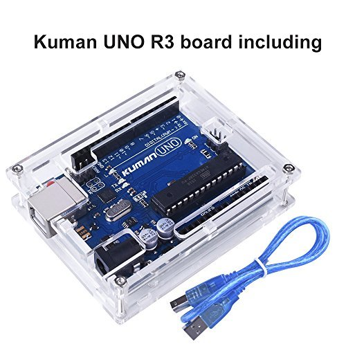 for Arduino , Kuman Uno R3 board ATmega328P + Uno R3 Case Enclosure New Transparent Gloss Acrylic Computer Box Compatible with Arduino UNO R3 W/ USB Cable K69 by Kuman