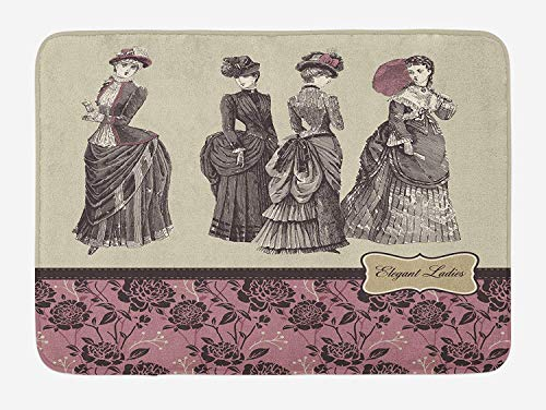 Weeosazg Victorian Bath Mat, Ladies Clothes Fashion History Dress Handbag Feather Gloves Floral Design Print, Plush Bathroom Decor Mat with Non Slip Backing, 23.6 W X 15.7 W Inches, Grey Rose ()