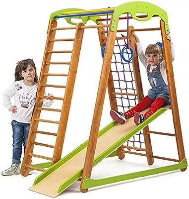 Centro de actividades con tobogán ˝Junior˝, red de escalada, anillos, escalera sueco, campo de juego infantil: Amazon.es: Bebé