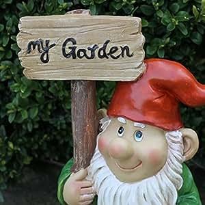 Cute Gnomo de jardín sujetando My Garden Mensaje