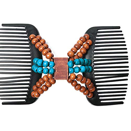 Women Magic Hair Combs Clip Wooden Beads Double Slide Stretchy Hair Accessories (Choices - #3 Blue)
