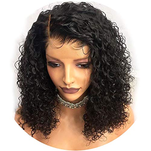 360 Lace Frontal Wigs Pre Plucked With Baby Hair Glueless Curly Lace Front Human Hair Wigs For Women Brazilian Remy Hair,Natural Color,8inches,150%]()