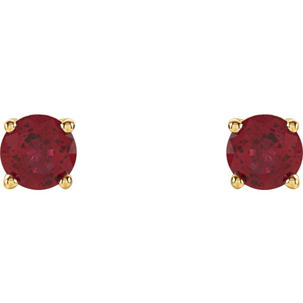 Jewels By Lux Set 14K Yellow Gold Lab-Created Ruby 4 mm Friction Pair Polished Chatham Created Ruby Earrings