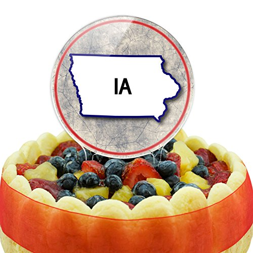 Iowa IA State Outline on Faded Blue Cake Top Topper