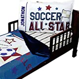 3pc RoomCraft All Star Personalized Soccer Toddler Bedding Set Sports Blanket Sheet and Pillowcase Set