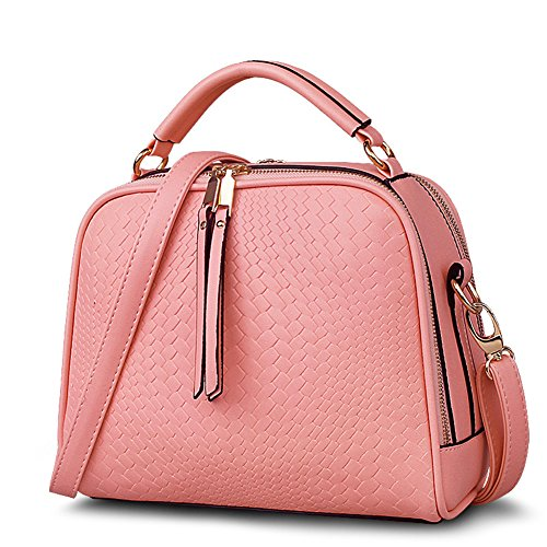 Oudy Womens OL Woven Pattern Shoulder Bag Everyday Satchel Leisure Tote Coral Pink (Pink Ladies Bowling Bag)