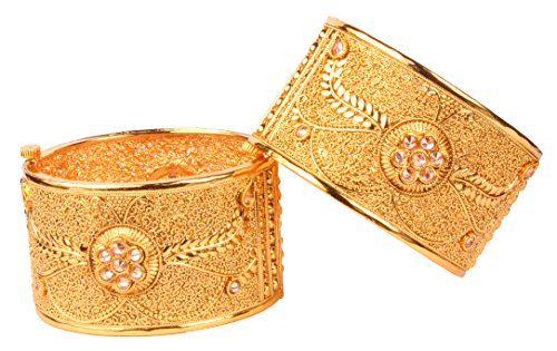 Traditional Bollywood Awesome Style Gold Tone Indian Polki Bangle Ethnic Jewelry