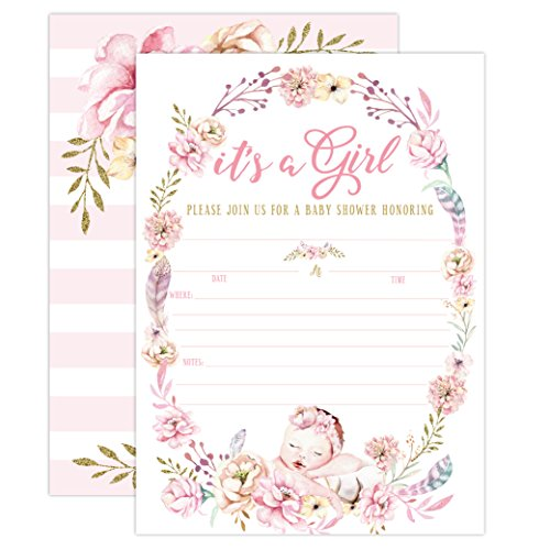 Girl Baby Shower Invitations, It's a Girl Baby Shower Invitations, Girl Baby Shower Invites, Floral Boho Butterfly Whimsical, 20 Fill in Invitations and Envelopes -