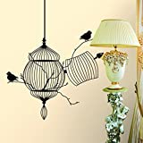 Lowpricenice(TM) New PVC Black Bird Pattern Removable Art Decal Wall Stickers Home Decor Room Decorations Mural (Birdcage)