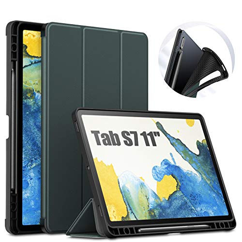 INFILAND Galaxy Tab S7 Case with S Pen Holder, Slim Tri-Fold Case Cover Compatible with Samsung Galaxy Tab S7 11-inch SM-T870/T875/T876 2020 Release Tablet [Auto Wake/Sleep], Midnight Green