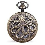 Vintage Bronze Octopus Quartz Pocket Watch Steampunk Black Pocket Watch with Necklace Chain Gift for Kids