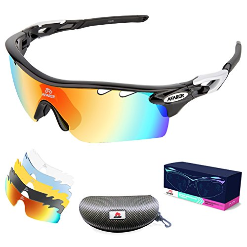 AFARER Polarized Sports Sunglasses for men women Outdoor Driving Fishing Cycling Running Golf with 5 Set Interchangeable Lenses TR90 Unbreakable Frame (Black Sliver)