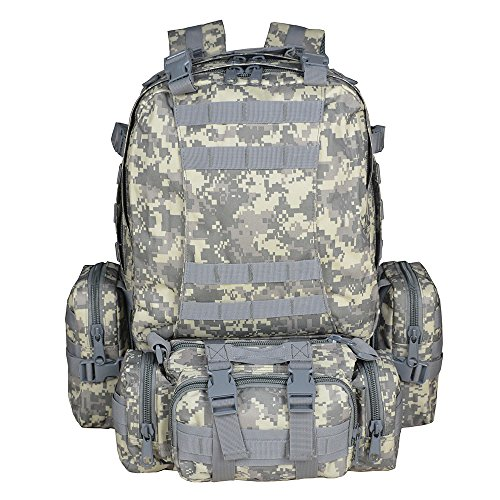 TOPQSC Military Tactical Backpack, 55L Large Tactical Backpack Outdoor Military Assault Backpack Combat Rucksack Trekking Bag Hiking Camping Mountain Climbing bag Combined with 3 MOLLE Bags 55L ACU