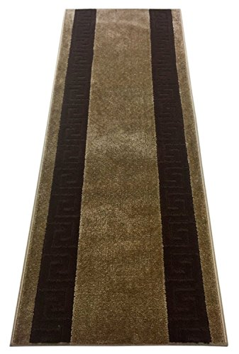 Custom Runner Meander Roll Runner 26 Inch Wide x Your Length Size Choice Slip Skid Resistant Rubber Back 3 Color Options Euro Collection (Camel, 12 ft x 26 -