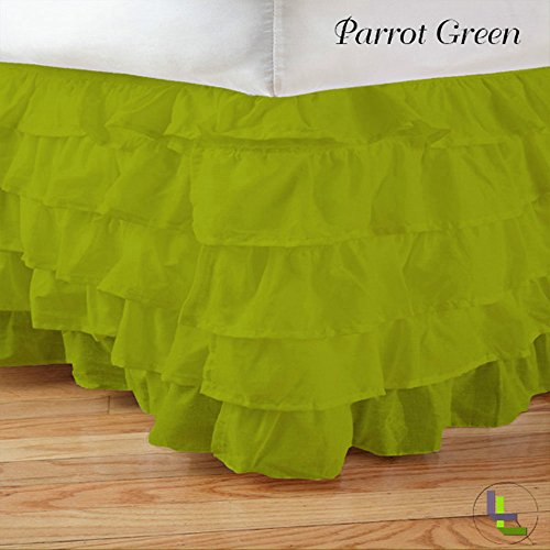 Floris Fashion King XL 400TC 100% Egyptian Cotton Parrot Green Solid Superb Finish 1PCs Multi Ruffle Bedskirt Solid (Drop Length: 12 inches)