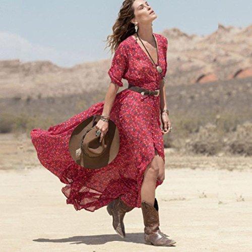 Rouge Casual Spots Ouest Rouge Style Party de XS L Femme L Floral Longue Et Sexy Sonnena Fille Bohme Soie Mousseline Manches Plage Robe Oa6wqB1w