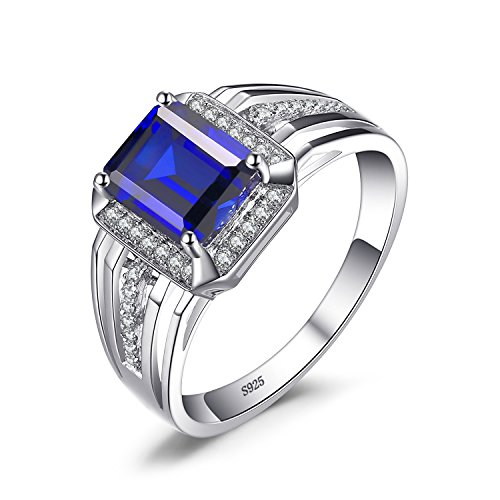 - JewelryPalace Created Blue Sapphire Red Ruby Simulated Nano Russian Emerald Natural Black Spinel Cocktail Wedding Engagement Ring 925 Sterling Silver (sapphire, 7)