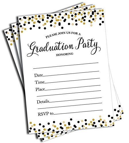 College Graduation Party Invitations - 50 Graduation Invitations and Envelopes (Large Size 5x7)