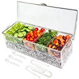 Ice Chilled 5 Compartment Condiment Server Caddy- Serving Tray Container with 5 Removable Dishes with over 2 Cup Capacity Each and Hinged Lid | 3 Serving Spoons + 3 Tongs Included