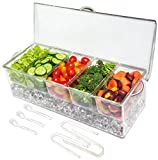 Image of Ice Chilled 5 Compartment Condiment Server Caddy - Serving Tray Container with 5 Removable Dishes with over 2 Cup Capacity Each and Hinged Lid | 3 Serving Spoons + 3 Tongs Included