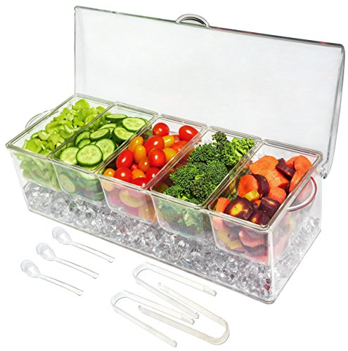 Ice Chilled 5 Compartment Condiment Server Caddy- Serving Tray Container with 5 Removable Dishes with over 2 Cup Capacity Each and Hinged Lid (5 Compartment Condiment Server with 3 Tongs and 3 Spoons) by ImpiriLux
