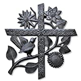 Cross, Large Metal Cross, Wall Hanging Accents, Holiday, Festive Fall Decorative Cross with Flowers and Birds, Handmade in Haiti 16″ x 17″ Review