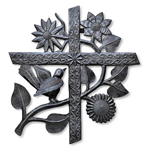 (Cross, Large Metal Cross, Wall Hanging Accents, Holiday, Festive Fall Decorative Cross with Flowers and Birds, Handmade in Haiti 16 in. x 17)