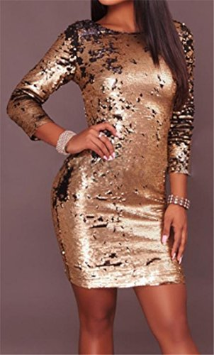 Sparkle Midi golden Dress 3 Party Club 4 Women's Sexy Sequin Sleeve Cruiize qfpax4f