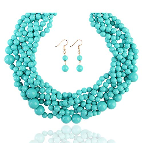 RIAH FASHION Braided Chunky Cluster Bead Bubble Statement Necklace - Multi Strand Twisted Colorful Twisted Ball Hammock Bib Collar (Turquoise Mint)