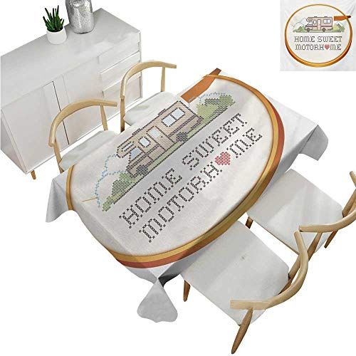 familytaste Home Sweet Home,Tablecloth Rectangular,Embroidery Hoop Cross Stitch Needlework Sewing Design Trailer Home Print,Table in Washable Polyester 60