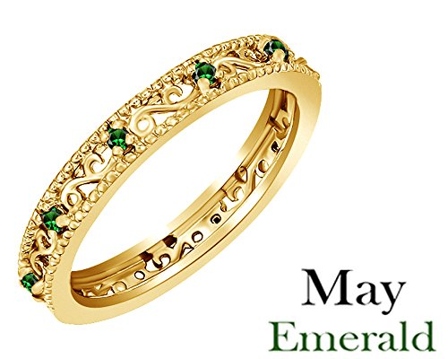 Jewel Zone US Round Cut Simulated Green Emerald Stackable Ring in 14K Yellow Gold Over Sterling Silver