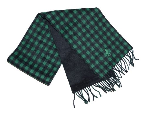 Polo Ralph Lauren Men Big Pony/Plaid Lambs Wool Reversible Winter Scarf - Made in Italy (One size, (Big Pony Lambswool)