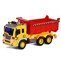 ToyThrill Friction Powered Dump Truck - Push and Go Construction Toy for Boys and Girls with Lights and Sounds - Realistic 1:16 Scale Design