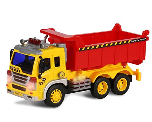 (ToyThrill Friction Powered Dump Truck – Push and Go Construction Toy for Boys and Girls with Lights and Sounds - Realistic 1:16 Scale Design)