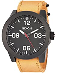 Nixon Mens Corporal Quartz Metal and Leather Watch, Color:Orange (Model: A2432448-00)