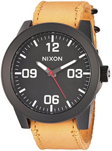 Nixon Men's 'Corporal' Quartz Metal and Leather Watch, Color:Orange (Model: A2432448-00) ()