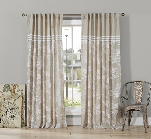 (Kensie Clara Striped Lace Cotton Blend Grommet Top Window Curtain Drapes For Bedroom, Livingroom, Kids Room, Children, Nursery - Assorted Colors - Set of 2 Panels, 54 X 84,)