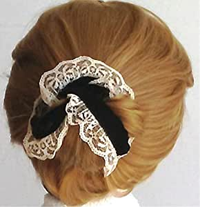 PRO HAIR BUN Maker Set, Black Velvet Ribbon with Ivory Lace.  Fun - Easy - Comfortable - Sophisticated Elegance. Preferred by Professional Women and Athletes. Bun It Up