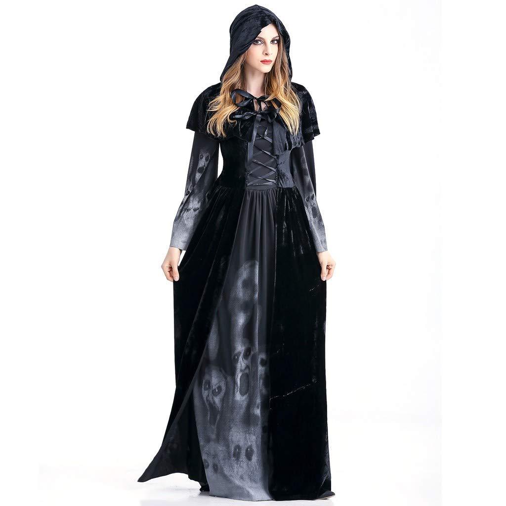 Voicry Frauen Halloween Cosplay Kost/üm Vintage Hexe Langarm Maxi Kleid