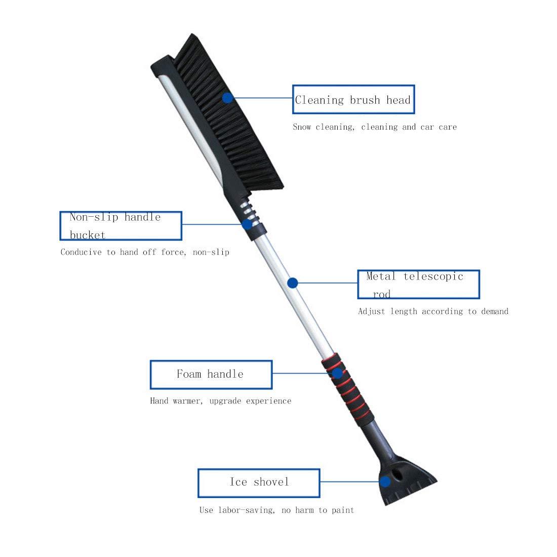 AGMHE Pala da Neve Carrello elevatore Retrattile da Neve in Lega di Alluminio per Auto con Pala da Ghiaccio Pala Multifunzione per rimozione Neve,Blue