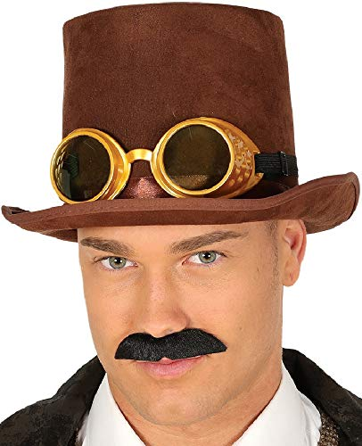 Mens Ladies Brown Victorian Steampunk Top Hat with Goggles Fancy Dress Costume Outfit Accessory -