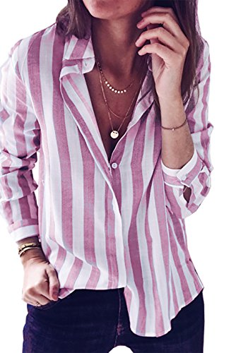 BTFBM Women Casual Striped Long Sleeve Button Down Loose T-Shirt Top Shirt Blouse (Pink, X-Large)