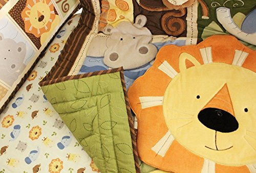 NAUGHTYBOSS Baby Bedding Set Cotton 3D Embroidery Africa Lion Pattern Quilt Bumper Bed Skirt Mattress Cover 7 Pieces Set Multicolor by NAUGHTYBOSS (Image #3)