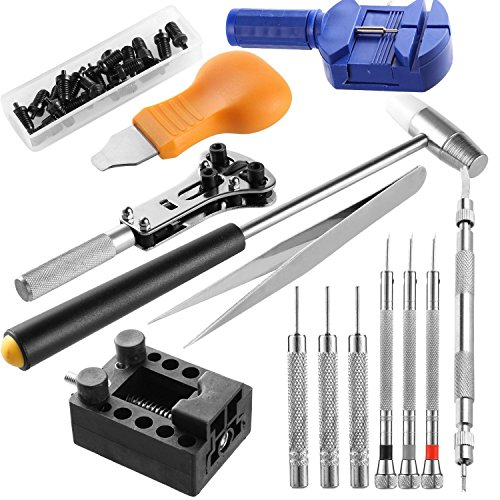14pcs Professional Watch Repair Tool Kit,Case Opener Link Spring Bar Band Pin Remover Hammer with Carrying - Career Hut