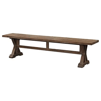 Rustic Pine Farmhouse Solid Wood Trestle Bench | Dining Seat Cottage Antique