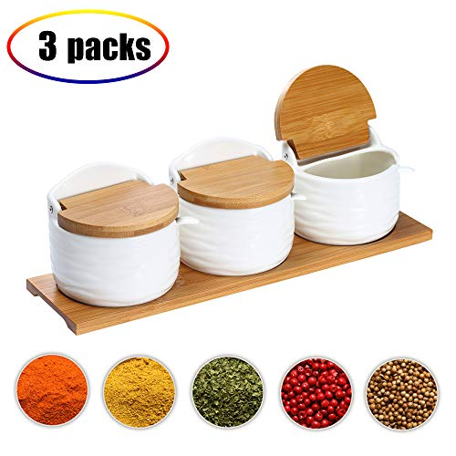 (Ceramic Food Storage Spice Containers with Bamboo Lid- Porcelain Jar- Perfect Canister for Sugar Bowl, Serving Tea, Coffee, Spice,Nuts jar, Holding Dressings, (3 Semicircular))