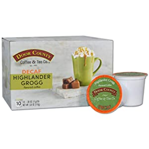 Door County Coffee, Single Serve Cups for Keurig Brewers, Highlander Grogg Decaf, Irish Creme and Caramel Flavored Coffee, Medium Roast, Ground Coffee, 10 Count