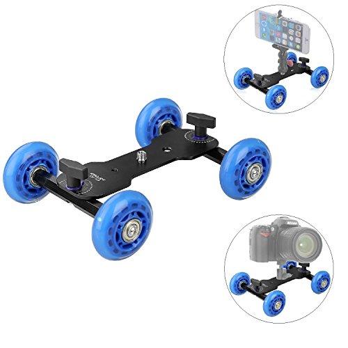 Papaler Tabletop Mobile Rolling Slider Dolly Car Skater Video Track Rail for Speedlite DSLR Camera Camcorder Rig (Double Disc Clamp)