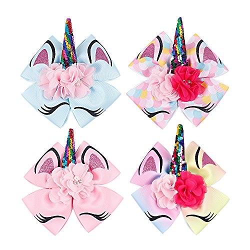 Oaoleer 8 inch Unicorn Cheer Bows for Girls Dogs Kids Grosgrain Ribbon Pig Tail Hair Bow with Alligator Clips (4pcs Alligator Clip Bows) - Overload Assembly