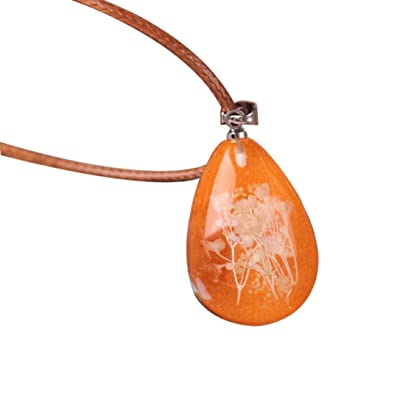 Nmch Necklace Jewelry, Women's Luminous Dried Flower Teardrop Pendant Necklace Charm Chain Jewelry Gift by (Multicolor F): Clothing